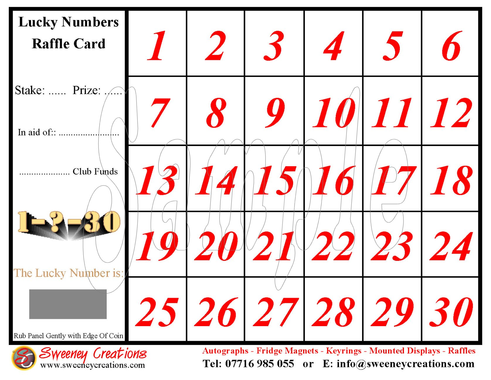Lucky Numbers Scratch Card 30 Squares